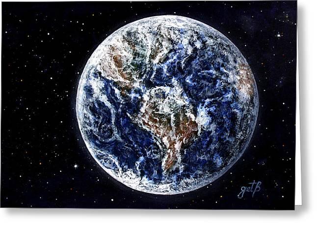 Office Space Digital Greeting Cards - Earth Beauty original acrylic painting Greeting Card by Georgeta Blanaru