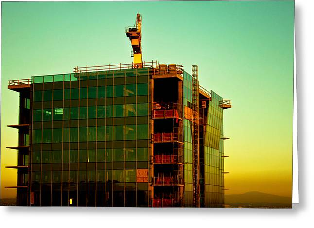 Building Crane Greeting Cards - Earth born Greeting Card by Gabriel Peralto