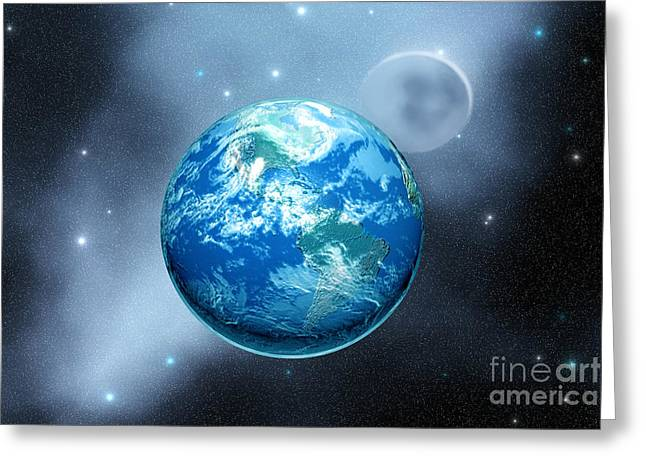 Interstellar Space Digital Art Greeting Cards - Earth Greeting Card by Corey Ford