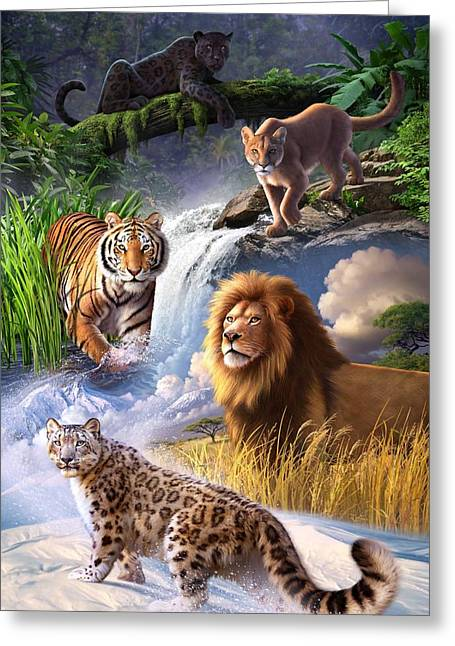 Jaguars Digital Greeting Cards - Earth Day 2013 poster Greeting Card by Jerry LoFaro