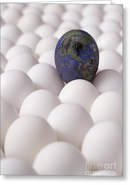 High Vulnerability Greeting Cards - Earth egg pollution Greeting Card by Jim Corwin