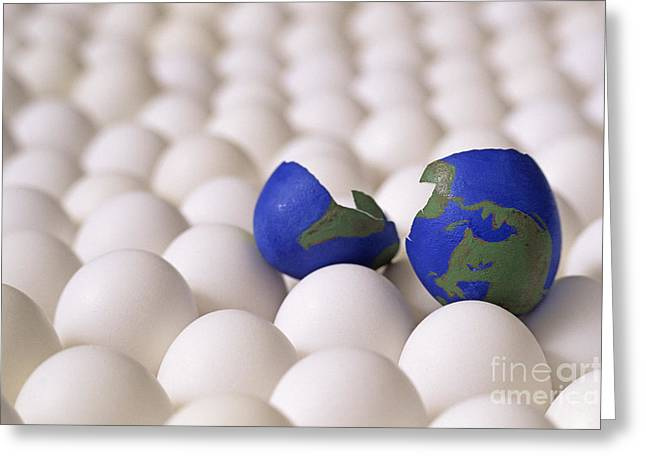 High Vulnerability Greeting Cards - Earth egg torn apart Greeting Card by Jim Corwin