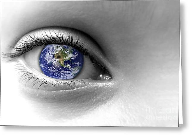 Planet Earth Greeting Cards - Earth eye Greeting Card by Delphimages Photo Creations