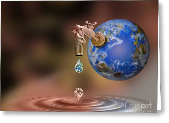 Faucet Greeting Cards - Earth Faucet Greeting Card by Mike Agliolo