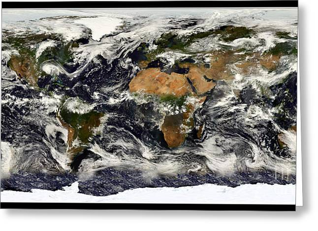 Arctic Rose Greeting Cards - Earth from NASA Terra Satellite Greeting Card by Rose Santuci-Sofranko