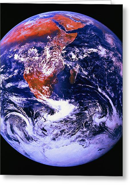 Maps Globes And Flags Greeting Cards - Earth From Space Centered On East Africa Greeting Card by Don Hammond
