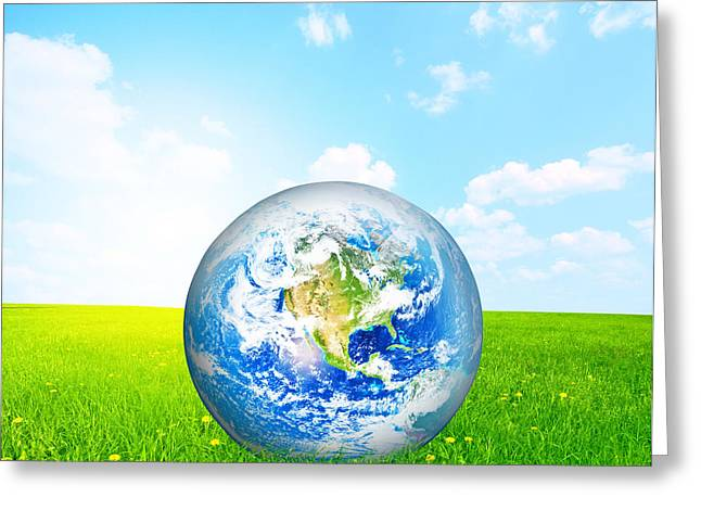 World Problems Greeting Cards - Earth globe on green grass Greeting Card by Michal Bednarek