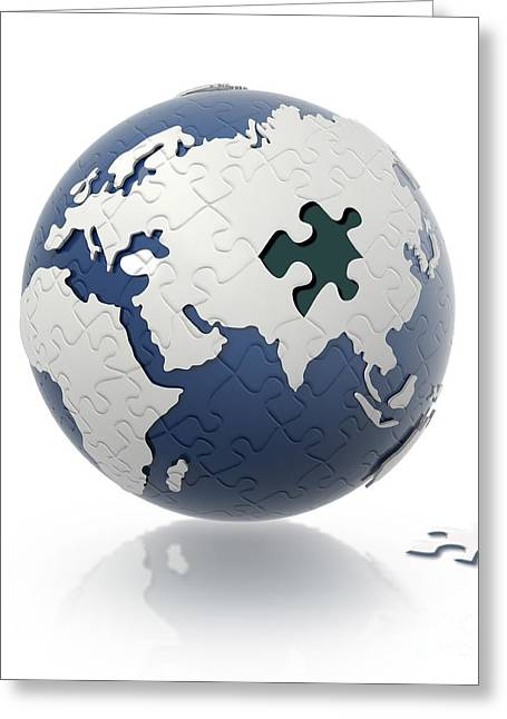 Game Piece Digital Art Greeting Cards - Earth Globe With Puzzle Pattern And One Greeting Card by Leonello Calvetti