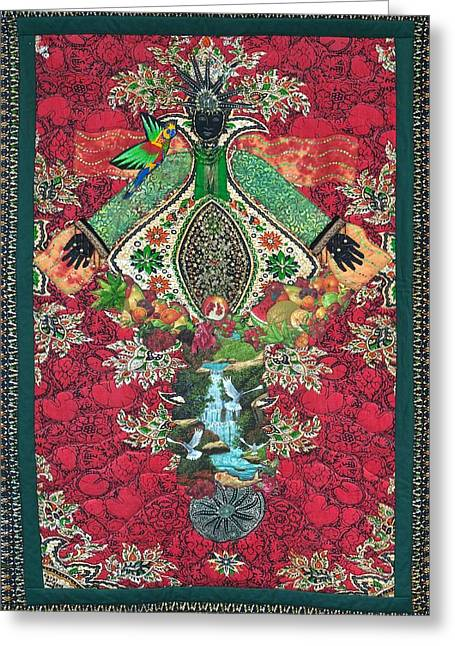 Goddess Tapestries - Textiles Greeting Cards - Earth Goddess Greeting Card by Carol Bridges