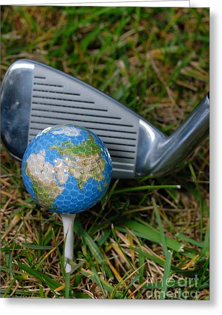 Planet Map Greeting Cards - Earth Golf Ball and Golf Club Greeting Card by Amy Cicconi