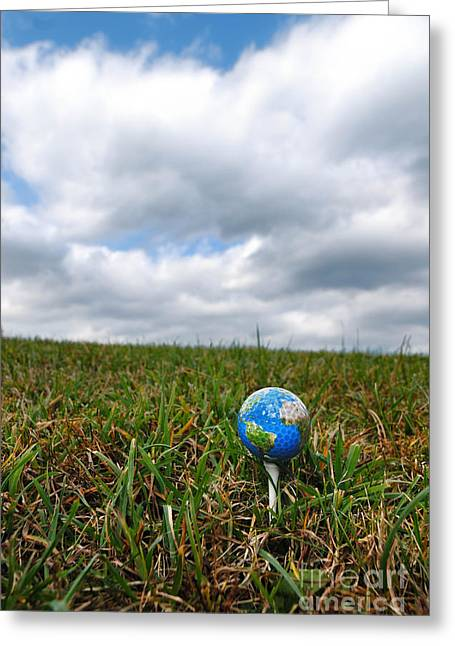 Planet Map Greeting Cards - Earth Golf Ball on Tee Greeting Card by Amy Cicconi