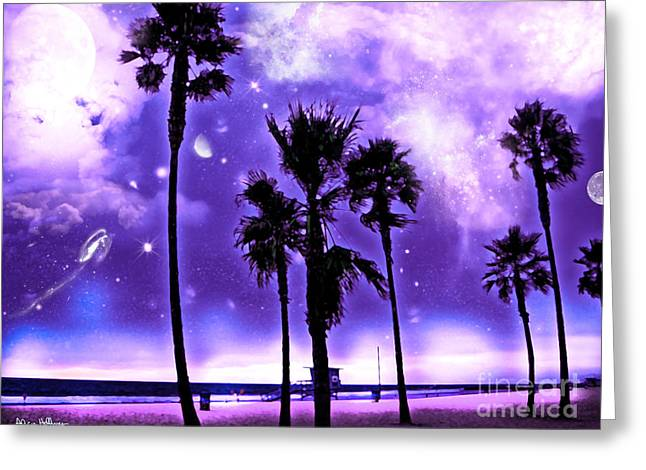 Planetary Mixed Media Greeting Cards - Earth 2 - a Purple World - at the Beach Greeting Card by Alicia Hollinger