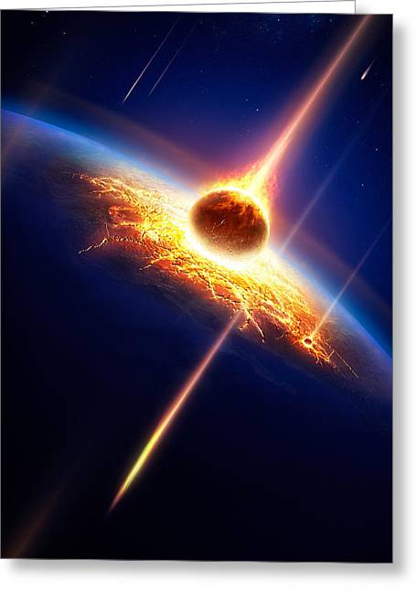 Destruction Greeting Cards - Earth in a  meteor shower Greeting Card by Johan Swanepoel