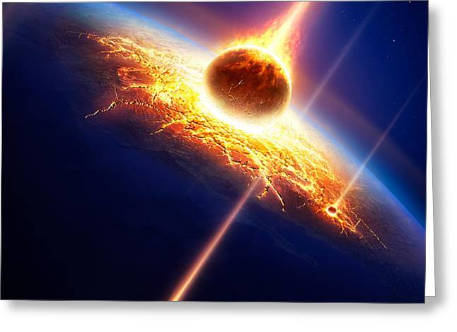 Earth in a  meteor shower Greeting Card by Johan Swanepoel