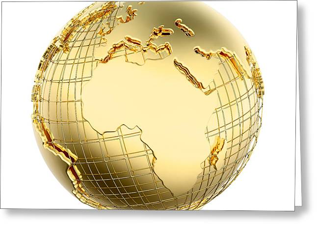 Spheres Greeting Cards - Earth in Gold Metal isolated - Africa Greeting Card by Johan Swanepoel