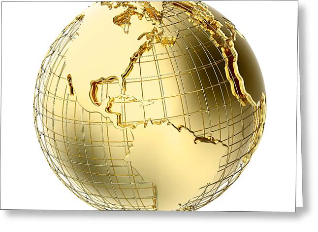 Spheres Greeting Cards - Earth in Gold Metal isolated on white Greeting Card by Johan Swanepoel