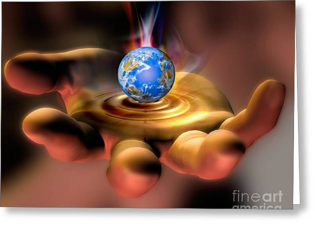 Graphic Digital Art Greeting Cards - Earth In Hand Greeting Card by Mike Agliolo