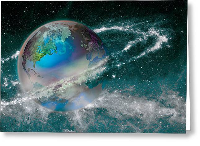 Global Communications Greeting Cards - Earth In Star Field Greeting Card by Panoramic Images