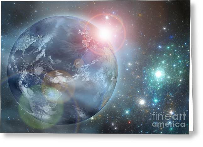 Planet Earth Greeting Cards - Earth in the space Greeting Card by Martin Capek