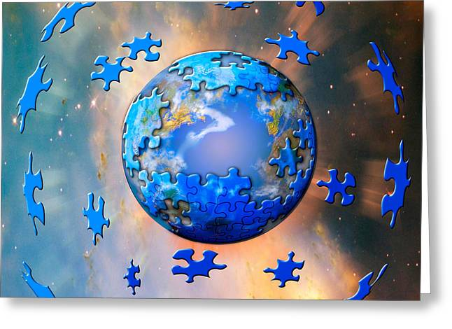 Graphic Digital Art Greeting Cards - Earth Is A Puzzle Greeting Card by Mike Agliolo