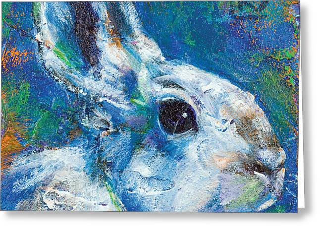 Hare Greeting Cards - Earth Keeper Snowshoe Hare Greeting Card by Rosemary Conroy