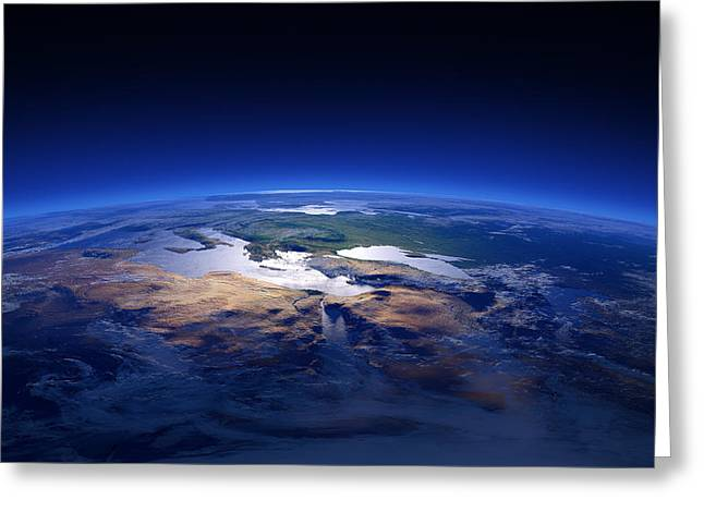 Aerial View Greeting Cards - Earth - Mediterranean Countries Greeting Card by Johan Swanepoel