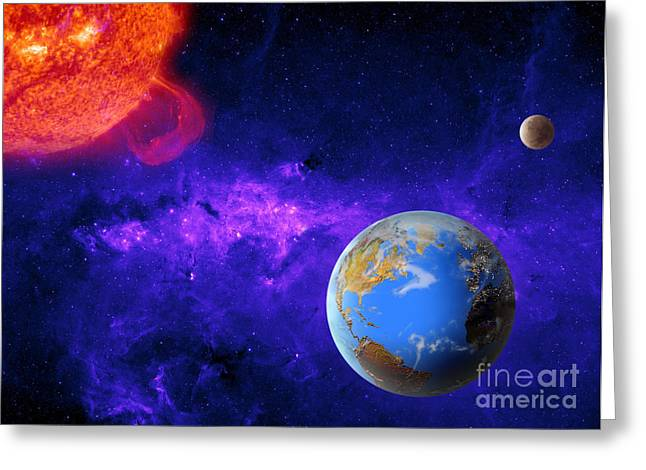 Outerspace Greeting Cards - Earth, Moon, And Sun Greeting Card by Mike Agliolo