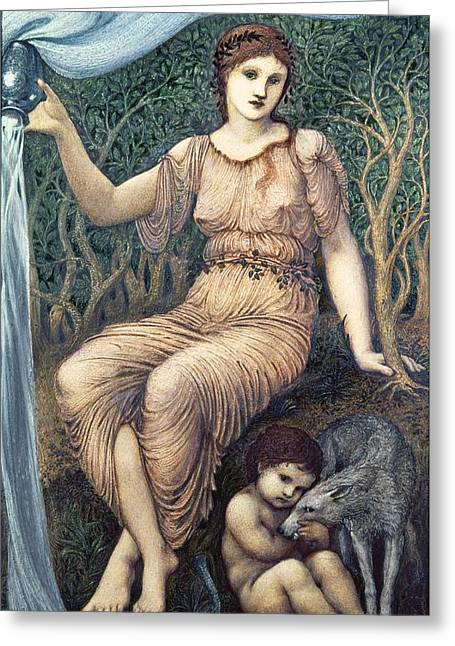 Pre-raphaelites Photographs Greeting Cards - Earth Mother, 1882 Gesso Greeting Card by Sir Edward Coley Burne-Jones