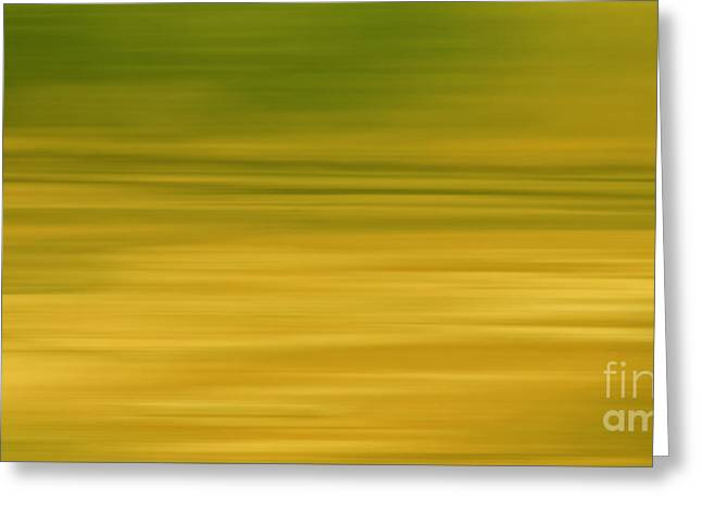 Geometric Style Greeting Cards - Abstract Earth Motion Lemon Grass Greeting Card by Linsey Williams