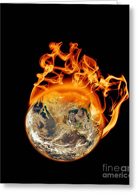 Overheating Greeting Cards - Earth on Fire Greeting Card by Scott Laffin