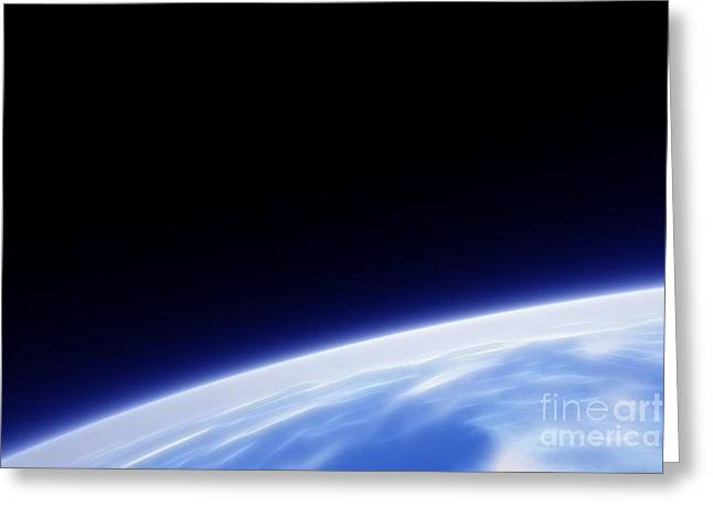 Fractal Globes Greeting Cards - Earth Orbit Fractal Greeting Card by Antony McAulay