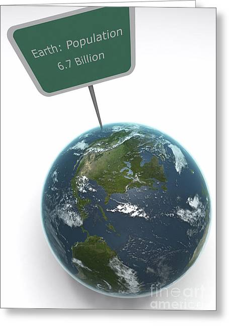 Worlds Population Greeting Cards - Earth Population Greeting Card by Science Picture Co