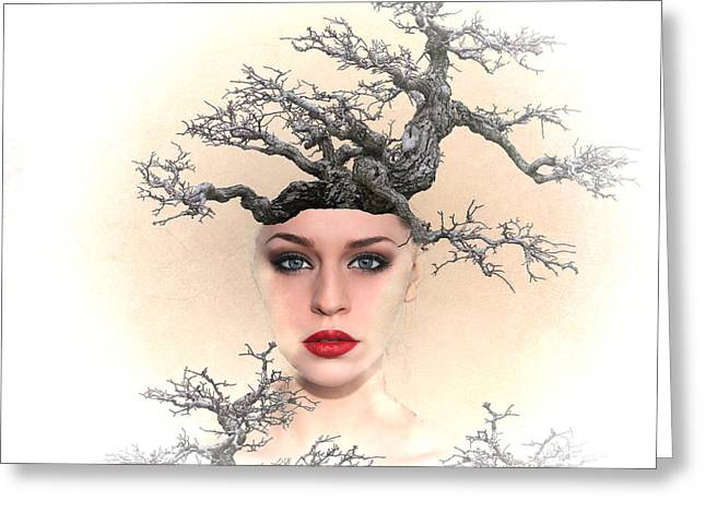 Surrealism Mixed Media Greeting Cards - Earth Queen Greeting Card by Sharon Lisa Clarke