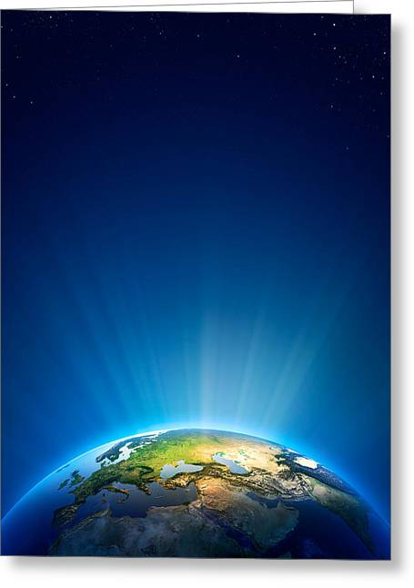 Global Greens Greeting Cards - Earth Radiant Light Series - Europe Greeting Card by Johan Swanepoel