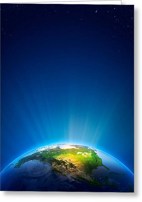 Shine Greeting Cards - Earth Radiant Light Series - North America Greeting Card by Johan Swanepoel