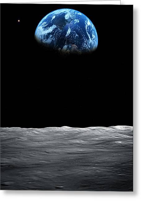 Planet Earth Greeting Cards - Earth Rise Greeting Card by Brady Barrineau