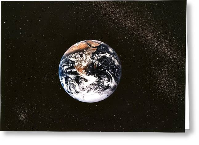 View From Space Greeting Cards - Earth Seen From Apollo 17 Africa And Antarctica Visible Greeting Card by Anonymous