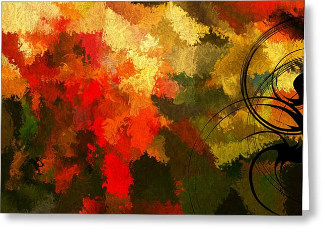Abstract Impressionism Digital Art Greeting Cards - Earth Shades Greeting Card by Lourry Legarde