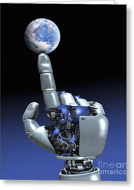 Future Tech Greeting Cards - Earth Spinning on Robotic Finger  Greeting Card by Victor Habbick Visions SPL