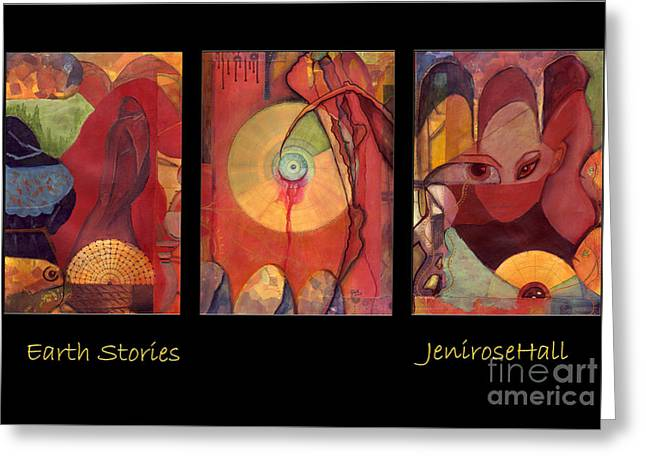 Rosyhall Greeting Cards - Earth Stories triptych Greeting Card by Rosy Hall
