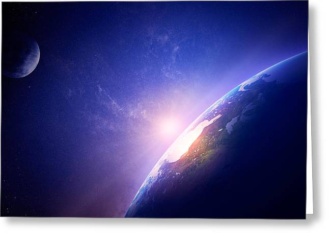 Solar Flare Greeting Cards - Earth sunrise in foggy space Greeting Card by Johan Swanepoel