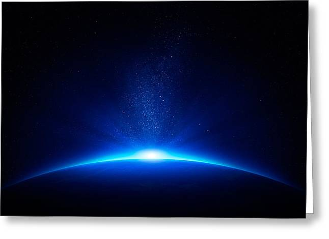 Fantasy World Greeting Cards - Earth sunrise in space Greeting Card by Johan Swanepoel