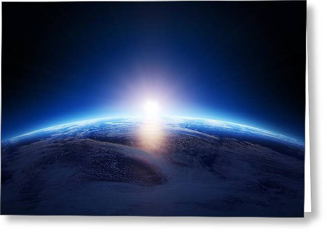Early Morning Sun Greeting Cards - Earth sunrise over cloudy ocean  Greeting Card by Johan Swanepoel