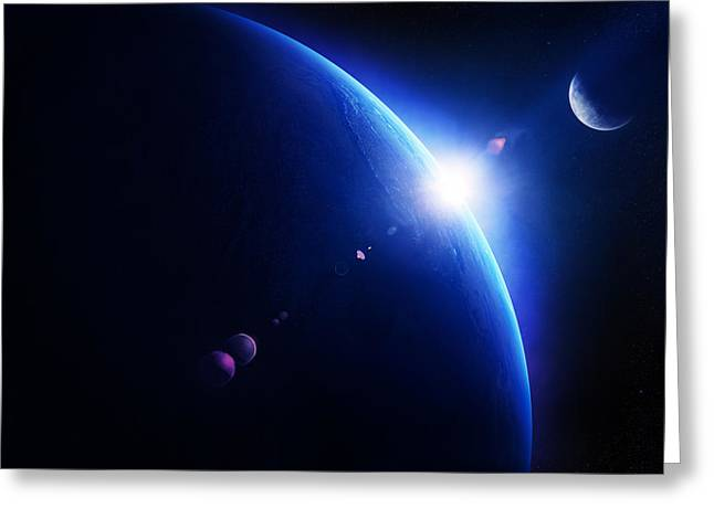 Light Beams Greeting Cards - Earth sunrise with moon in space Greeting Card by Johan Swanepoel