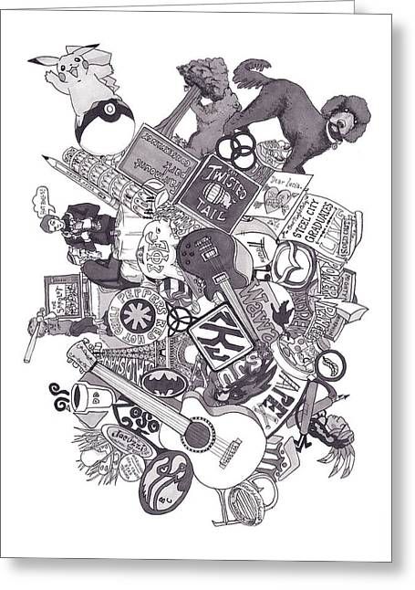 Grayscale Drawings Greeting Cards - Earth To Zach Greeting Card by Tyler Auman