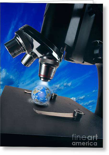 Graphic Digital Art Greeting Cards - Earth Under Microscope Greeting Card by Mike Agliolo