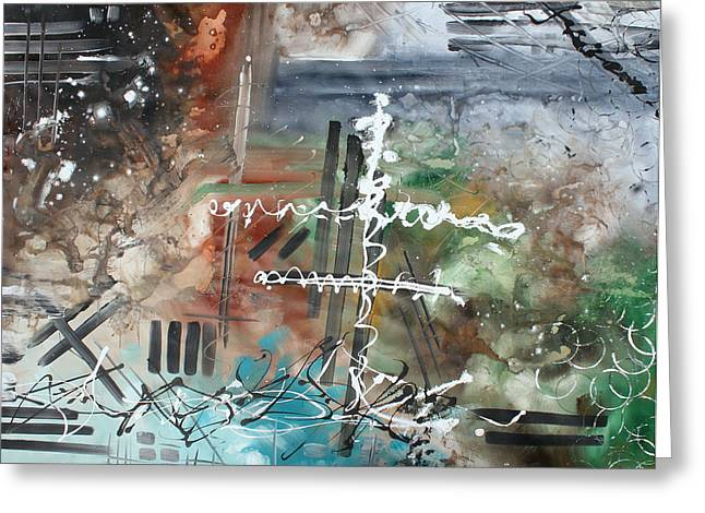 Earth Wind and Fire Abstract Painting MADART Greeting Card by Megan Duncanson