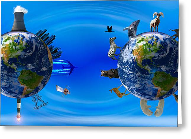 Global Communications Greeting Cards - Earth With Circle Of Props Greeting Card by Panoramic Images
