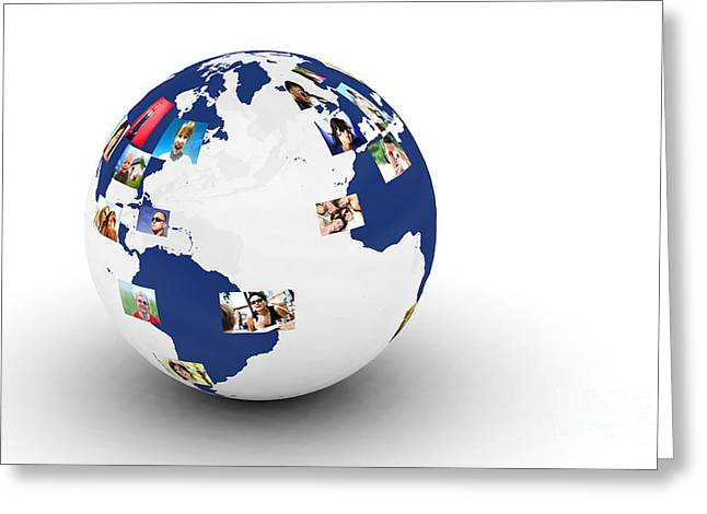 Globalization Greeting Cards - Earth with people photos in network Greeting Card by Michal Bednarek