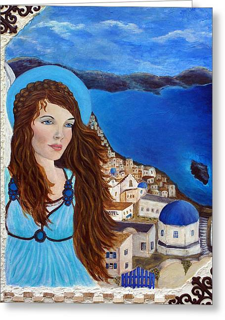 Best Sellers -  - Spiritual Portrait Of Woman Greeting Cards - Earthangel Athena Greeting Card by The Art With A Heart By Charlotte Phillips